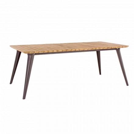Table de jardin en bois de teck et base en aluminium Homemotion - Amabel