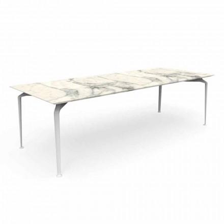 Table de jardin rectangulaire moderne en grès et aluminium - Cruise Alu Talenti