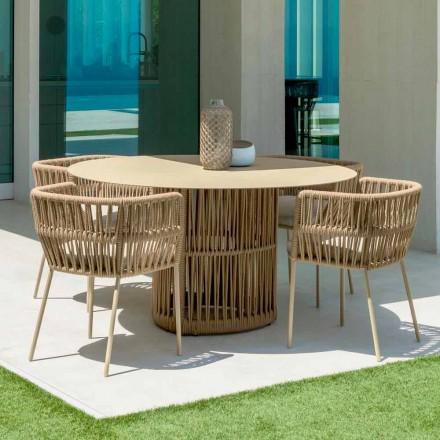 Table de jardin ronde en aluminium Cliff Talenti, design par Palomba