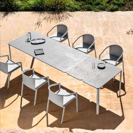 Table à manger extensible d'extérieur 318 cm en aluminium et grès - Filomena