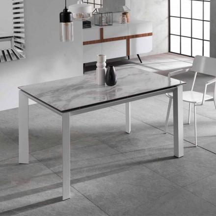Table à manger extensible avec plan en céramique et marbre effet Nosate