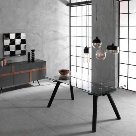Table extensible jusqu'à 260 cm, plan en verre et bois de frêne Empoli