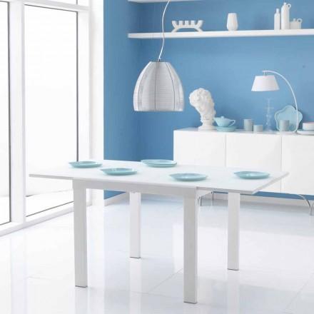 Table à manger avec rallonge Teo, plateau en verre