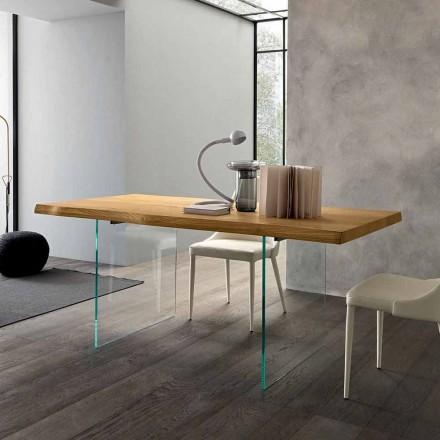 Table à manger extensible jusqu'à 280 cm en bois et verre Made in Italy - Focus