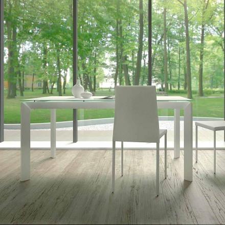 Table à manger extensible jusqu'à 220 cm en verre Made in Italy - Macchia