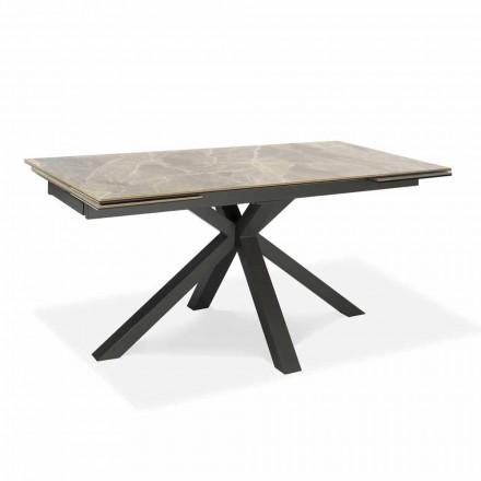 Table à manger extensible jusqu'à 240 cm en métal et céramique - Laryssa