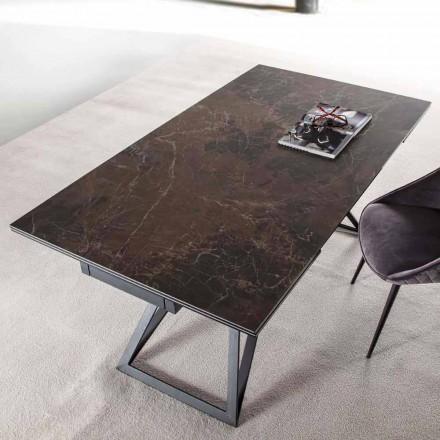 Table à manger extensible jusqu'à 240 cm en verre céramique et acier - Bortolo