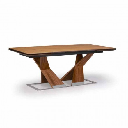 Table à manger extensible jusqu'à 294 cm en bois Made in Italy - Monique