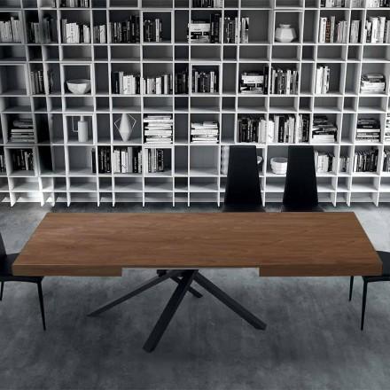 Table à manger extensible jusqu'à 310 cm en bois et acier - Argentario