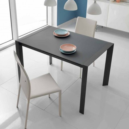 Table extensible Oddo en verre et métal, de design moderne