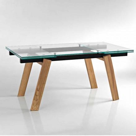 Table à manger à rallonges en verre moderne fait en italie, Azad