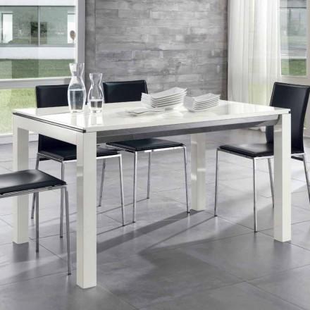 Table extensible à manger en bois de noyer Tanganika laqué blanc brillant - Ketla