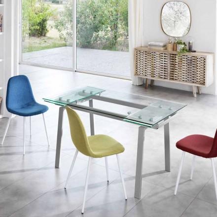 Table à manger extensible moderne en verre, L140/200x P80 cm,Nardo