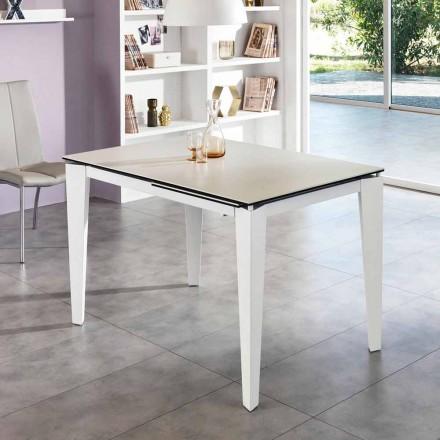 Table à manger extensible verre-céramique, 120/170xP.80 cm, Bino