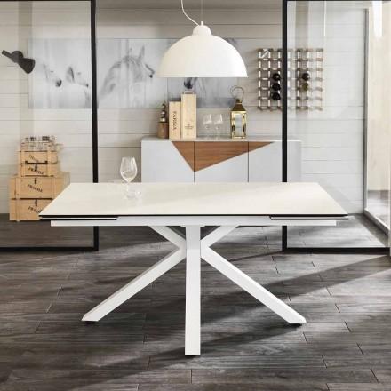 Table à manger extensible verre-céramique, l.160/240xp.90 cm, Bacco