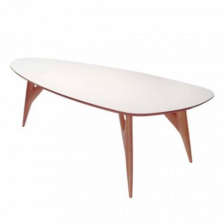 Table à manger, fabriquée à la main, en HPL et acajou massif Made in Italy - Chêne