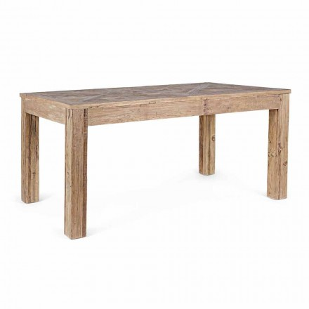 Table de salle à manger Homemotion avec plateau et pieds en bois d'orme - Orme
