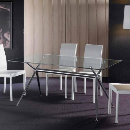 Table de salle à manger avec plateau en verre trempé transparent Thor