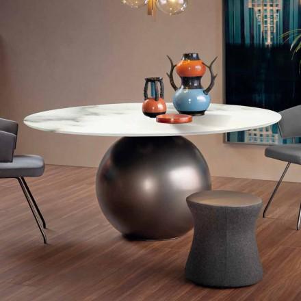 Table à manger avec plateau rond en marbre mat Made in Italy - Bonaldo Circus
