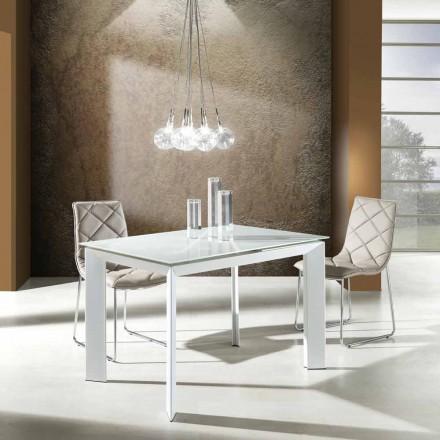 Table extensible en verre trempé blanc et métal Zeno, design moderne