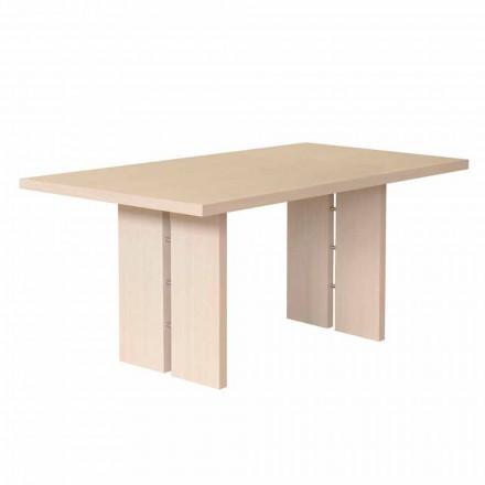 Table à manger avec plateau en chêne blanchi naturel, fabriqué en Italie, Nelso
