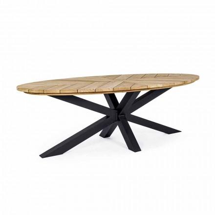 Table à manger d'extérieur avec plateau ovale en teck, Homemotion - Selenia