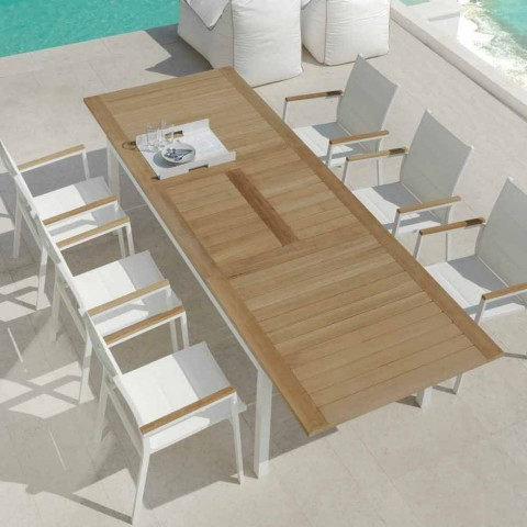 Table de jardin extensible blanche en aluminium Timber
