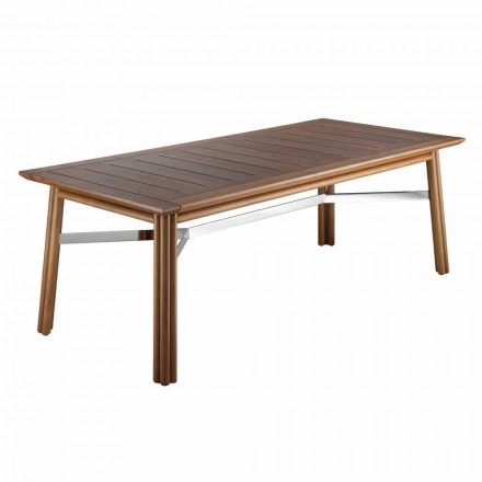 Table à manger de jardin en bois naturel ou noir, luxe italien - Suzana