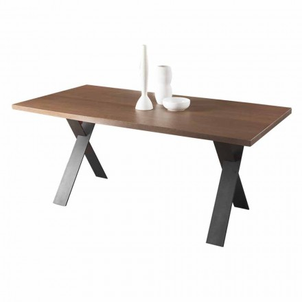 Table à manger design avec plateau en chêne ou noyer Made in Italy - Lucas