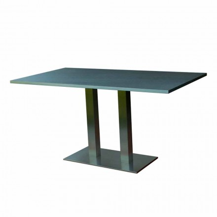 Table à manger design avec plateau en pierre stratifiée, 160x90cm, Newman