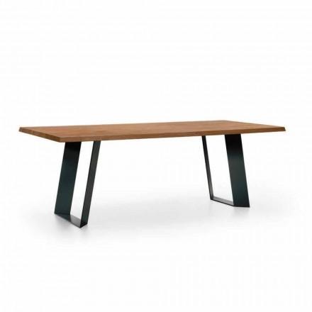 Table à manger design en sapin avec pieds en métal noir Made in Italy - Kroma