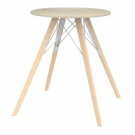 Table de Salle à Manger Design Ronde en Bois et Dekton 4 Pièces - Faz Wood - Vondom