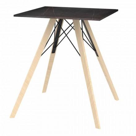 Table à manger design en bois et carré Dekton 4 pièces - Faz Wood par Vondom