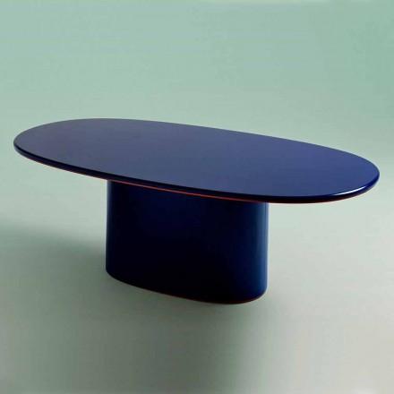 Table de salle à manger ovale de design moderne en MDF bleu et cuivre fabriqué en Italie - Oku