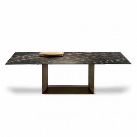 Table extensible à manger en céramique et métal Made in Italy - Marron foncé