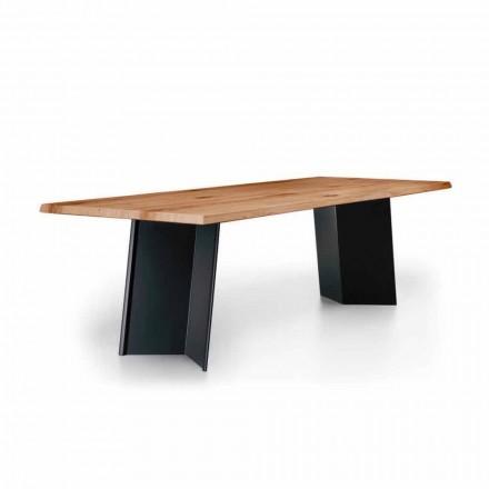 Table à manger design avec plateau en chêne noué Made in Italy - Simeone