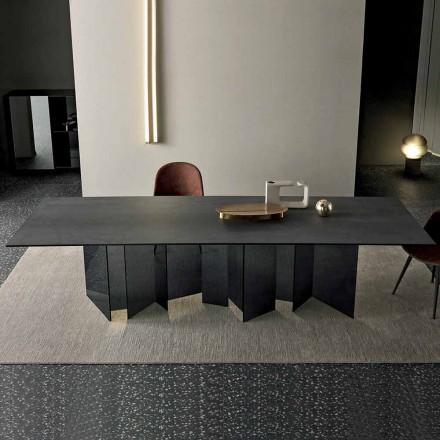 Table à manger design en céramique et verre fumé fabriqué en Italie - aléatoire