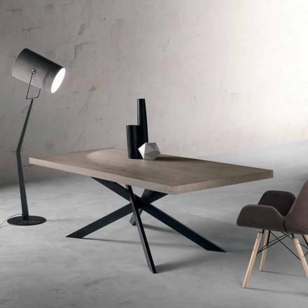 Table à manger design en bois de chêne et métal fabriqué en Italie, Oncino