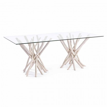 Table à manger design en verre et teck blanchi Homemotion - France
