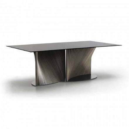 Table à manger de luxe en verre fumé et frêne huilé Made in Italy - Croma
