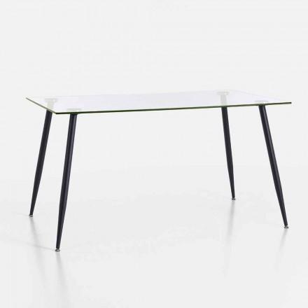 Table à manger design moderne en verre trempé et métal noir - Foulard