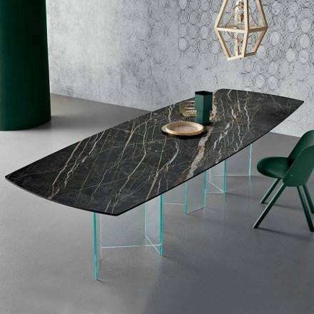 Table à manger en céramique et base en verre extralight fabriquée en Italie - aléatoire