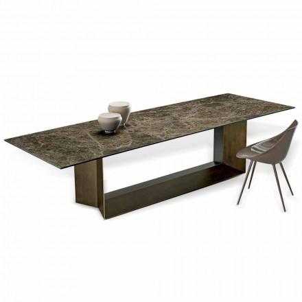 Table de Salle à Manger Emperador en Céramique et en Bronze Fabriqué en Italie - Marron Foncé