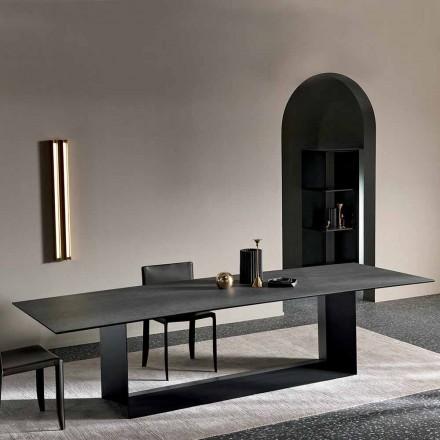 Table de salle à manger en céramique de pierre de Savoie anthracite fabriquée en Italie - Brun foncé