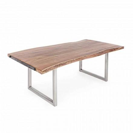 Table à manger Homemotion en bois d'acacia et acier inoxydable - Convo