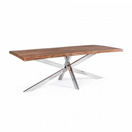 Table de salle à manger design en bois et acier inoxydable Homemotion - Kaily
