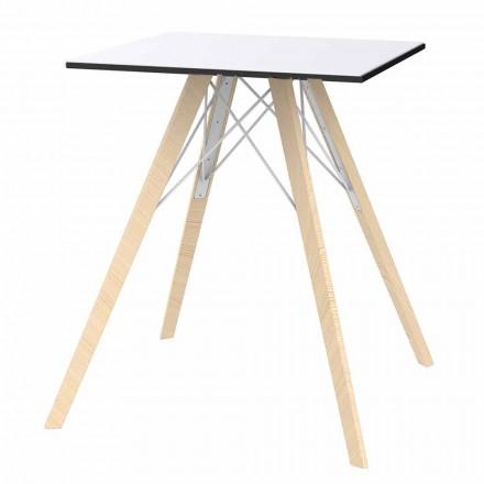 Table de Salle à Manger Carrée Design en Bois et Hpl, 4 Pièces - Bois Faz - Vondom
