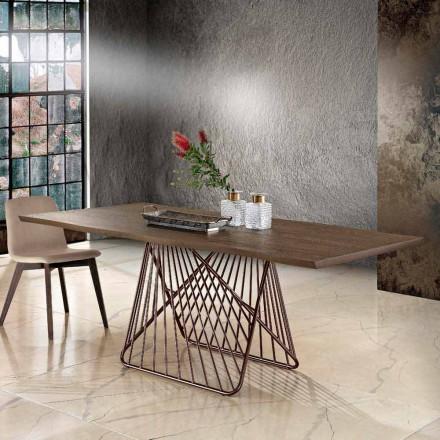 Table à manger en bois massif moderne faite en Italie, Mitia