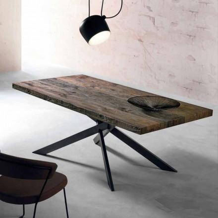 Table à manger moderne en bois massif fabriqué en Italie, Oncino