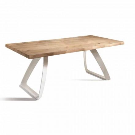 Table à manger en métal et chêne plaqué Made in Italy - Aryssa